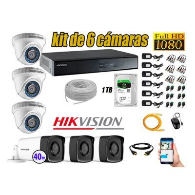Cámaras Seguridad Kit 6 Full HD 1080P 1TB + Cámara Exterior Mayor Alcance IT3F KIT06-FHD-D042