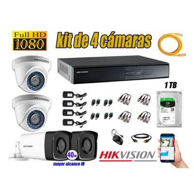Cámaras de Seguridad Kit 4 Full HD 1080P 1TB + Cámara Exterior Mayor Alcance IT3F KIT04-FHD-D001