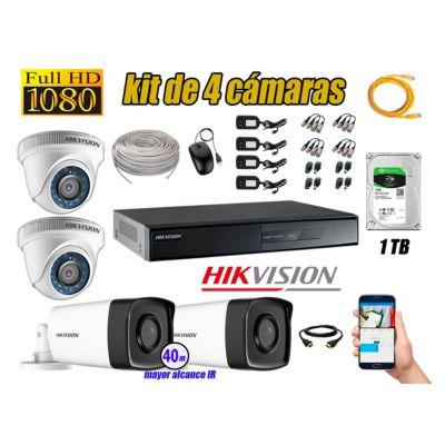 Cámaras de Seguridad Kit 4 Full HD 1080P 1TB + Cámara Exterior Mayor Alcance IT3F KIT04-FHD-D002