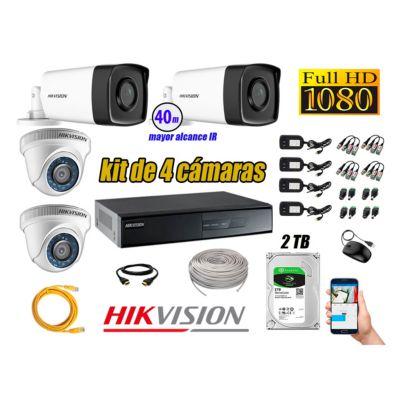 Cámaras de Seguridad Kit 4 Full HD 1080P 2TB + Cámara Exterior Mayor Alcance IT3F KIT04-FHD-D003
