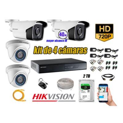 Cámaras de Seguridad Kit 4 HD 720P 1TB + Cámara Exterior Mayor Alcance IT3F KIT04-HD-D006