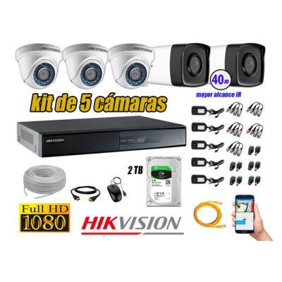 Cámaras de Seguridad Kit 5 Full HD 1080P 2TB + Cámara Exterior Mayor Alcance IT3F P2P