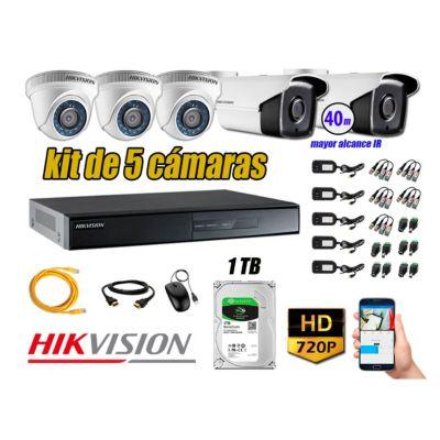 Cámaras Seguridad Kit 5 HD 720P 1TB + Cámara Exterior Mayor Alcance IT3F P2P