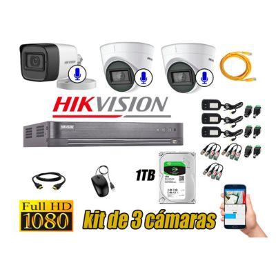 Kit 3 Cámaras de Seguridad Full HD 1080P   03 Camaras Con Audio Incorporado CCTV