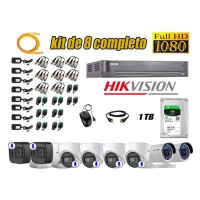 Kit 8 Cámaras de Seguridad Full HD 1080P | 06 Camaras Con Audio Incorporado CCTV