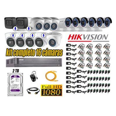 Kit 16 Cámaras de Seguridad Full HD 1080P | 6 Camaras Con Audio Incorporado CCTV P2P