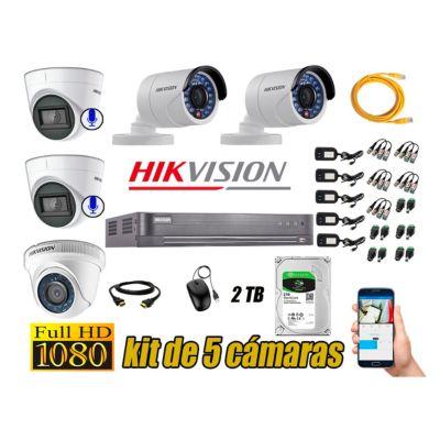 Kit 5 Cámaras de Seguridad Full HD 1080P | 02 Camaras Con Audio Incorporado CCTV