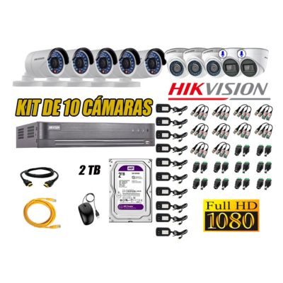 Kit 10 Cámaras de Seguridad Full HD 1080P | 02 Camaras Con Audio Incorporado CCTV