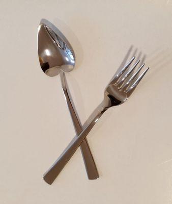 Cucharitas y tenedores de dulce  12 Piezas Acero Inoxidable
