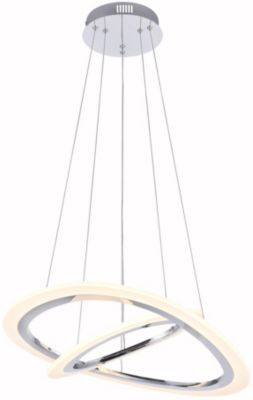 Lámpara Colgante Led Jade Cromada Doble 34W Luz amarilla