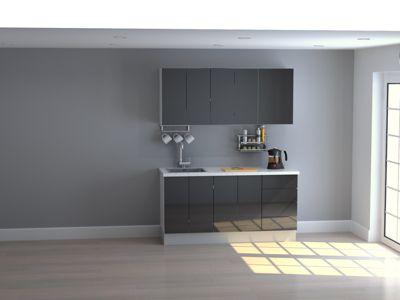 Mueble de Cocina Modular High Gloss 165 Cm Negro