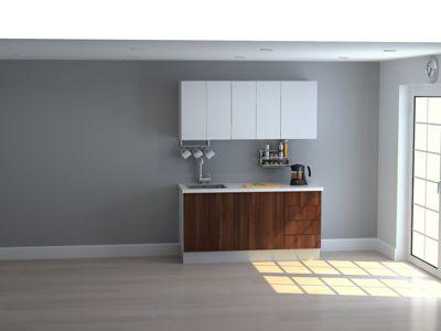 Mueble de Cocina Modular 165 Cm High Gloss Y Maderado (gal + Bla)