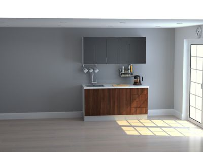 Mueble de Cocina Modular 165 Cm High Gloss Y Maderado (gal + Neg)