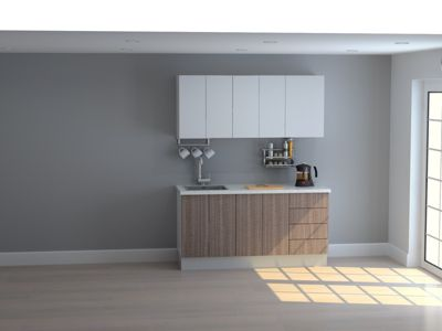 Mueble de Cocina Modular 165 Cm High Gloss Y Maderado (olv + Bla)