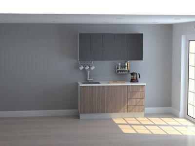 Mueble de Cocina Modular 165 Cm High Gloss Y Maderado (olv + Neg)