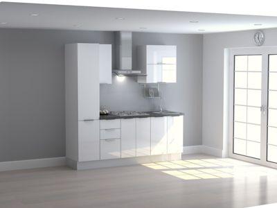 Mueble de Cocina Modular High Gloss 210 Cm Blanco