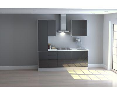 Mueble de Cocina Modular High Gloss 210 Cm Negro