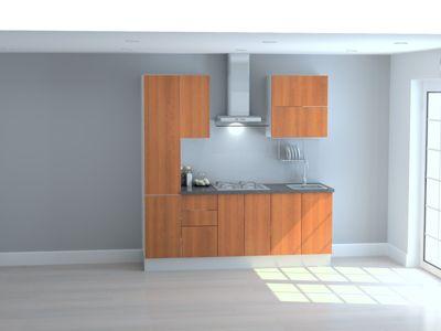 Mueble de Cocina Modular Maderada 210 Cm Cerezo