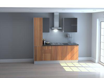 Mueble de Cocina Modular 210 Cm High Gloss Y Maderado (gal + Neg)