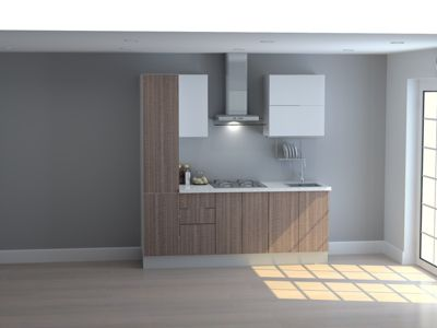 Mueble de Cocina Modular 210 Cm High Gloss Y Maderado (olv + Bla)