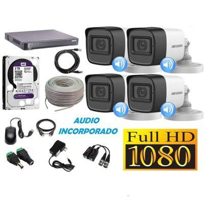 Kit 4 Cámaras Seguridad Tubo Full HD + Audio Incorporado 2TB Completo