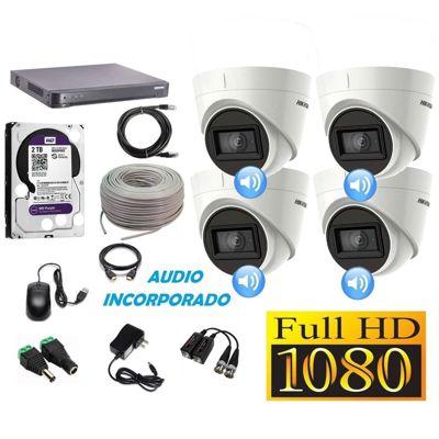 Kit 4 Cámaras Seguridad Domo Full HD + Audio Incorporado 2TB Completo
