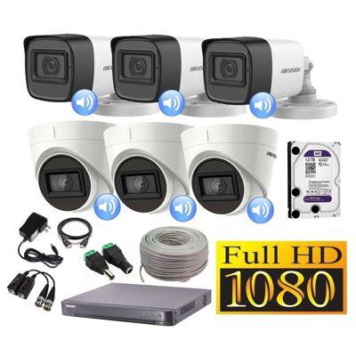 Kit 6 Cámaras Seguridad Full HD + Audio Incorporado 1TB Completo