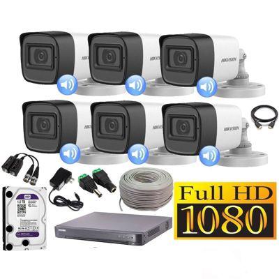 Kit 6 Cámaras Seguridad Tubo Full HD + Audio Incorporado 1TB Completo