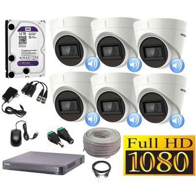 Kit 6 Cámaras Seguridad Domo Full HD + Audio Incorporado 1TB Completo