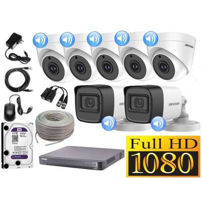 Kit 7 Cámaras Seguridad Full HD + Audio Incorporado 1TB Completo