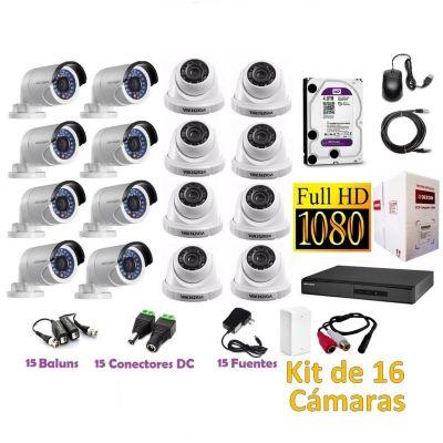 Kit 16 Cámaras de Seguridad Full HD 4TB P2P + Kit Microfono + 305mts Cable Dixon