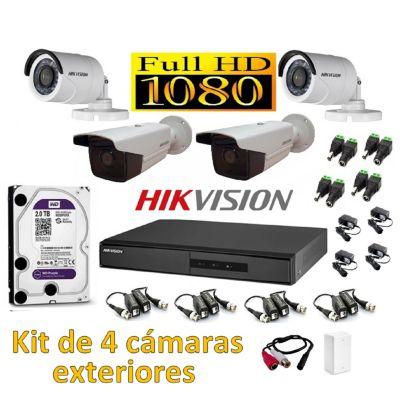 Kit 4 Cámaras de Seguridad Tubo IT3F Exterior Full HD 2TB P2P + Kit Microfono
