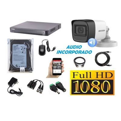 Kit 1 Cámaras Seguridad Tubo Full HD + Audio Incorporado 500GB