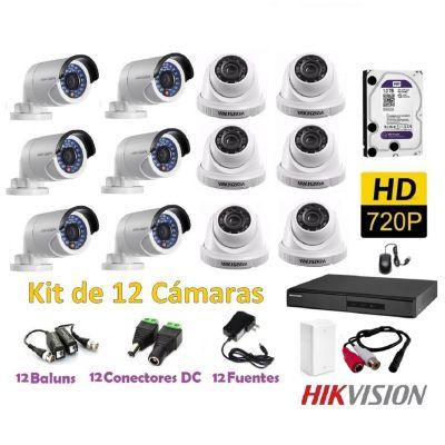 Kit 12 Cámaras de Seguridad HD 1TB P2P + Kit Microfono