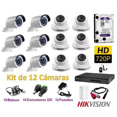 Kit 12 Cámaras de Seguridad HD 2TB P2P + Kit Microfono