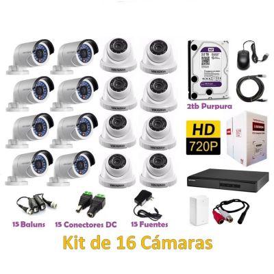 Kit 16 Cámaras de Seguridad HD 2TB P2P + Kit Microfono + 305mts Cable Dixon