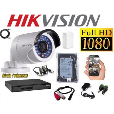 Kit 1 Cámaras de Seguridad Tubo Full HD 500GB P2P + Kit Microfono