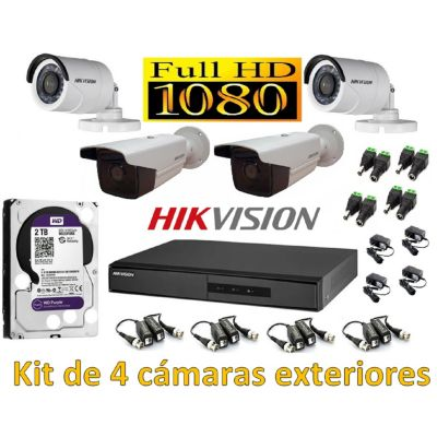 Kit 4 Cámaras de Seguridad Exterior Full HD IT3F + 2TB WD