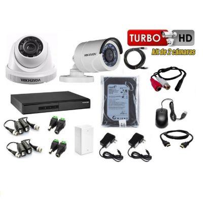 Kit 2 Cámaras de Seguridad HD 500GB P2P + Kit Microfono