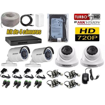 Kit 4 Cámaras de Seguridad HD 500GB P2P + Kit Microfono + Cable Utp