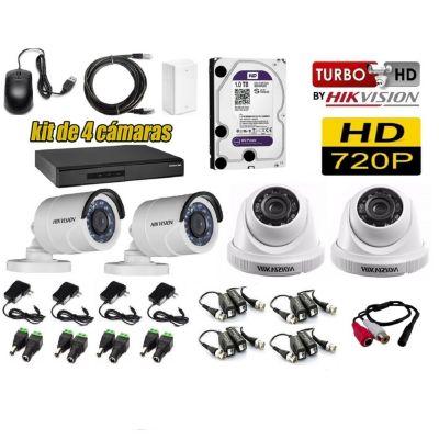 Kit 4 Cámaras de Seguridad HD 1TB P2P + Kit Microfono