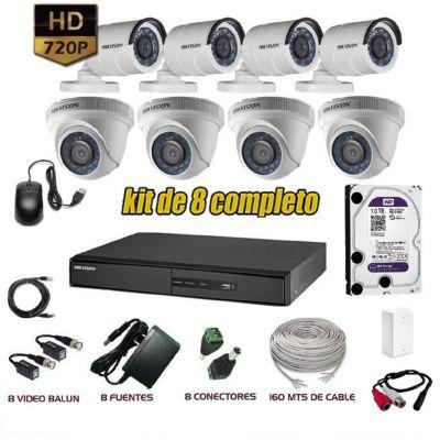 Kit 8 Cámaras de Seguridad HD 1TB P2P + Kit Microfono + Cable Utp