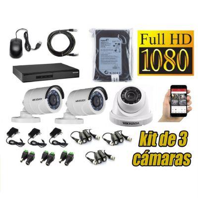 Kit 3 Cámaras de Seguridad Full HD + 500GB