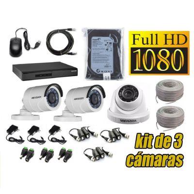 Kit 3 Cámaras de Seguridad Full HD + 500GB Completo