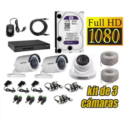 Kit 3 Cámaras de Seguridad Full HD + 1TB WD Completo