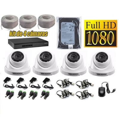 Kit 4 Cámaras de Seguridad Domo Full HD 500GB Completo
