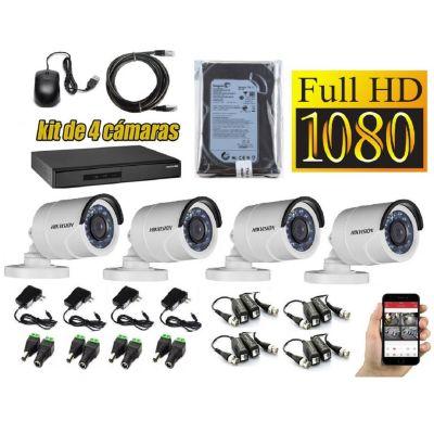 Kit 4 Cámaras de Seguridad Tubo Full HD + 500GB