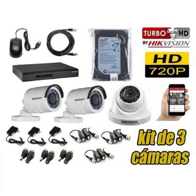 Kit 3 Cámaras de Seguridad HD + 500GB