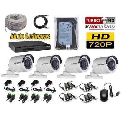 Kit 4 Cámaras de Seguridad Tubo HD + 500GB Completo