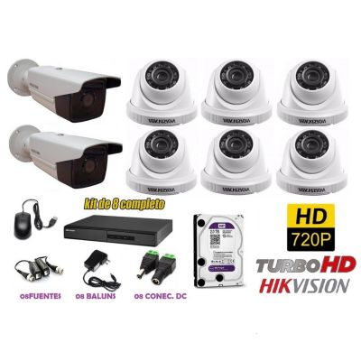 Kit 8 Cámaras de Seguridad HD IT3F + 2TB WD